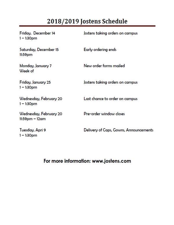 seniors order your cap gowns see jostens calendar