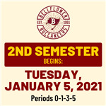 2nd Semester Begins Tuesday, January 5, 2021