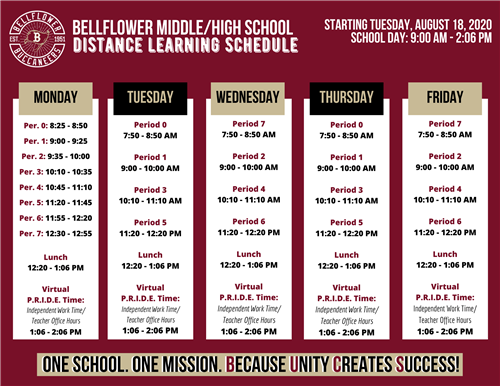 Bellflower Middle/High School Distance Learning Schedule