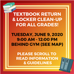 Textbook Return & Locker Clean-Up For All Grades!