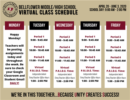 Bellflower Middle/High School Virtual Class Schedule Image