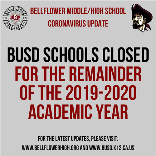BUSD Schools Closed for the remainder of the 2019-2020 Academic Year
