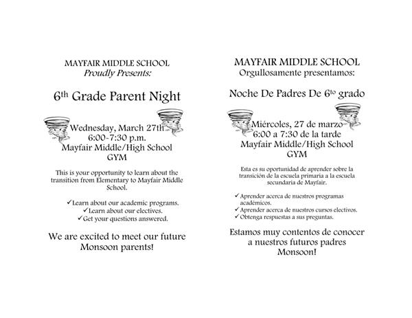 6th Grade Parent Night - March 27th