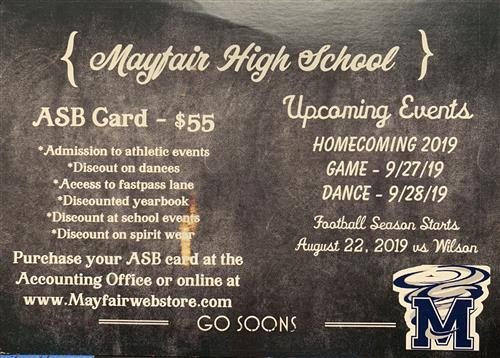 Purchase your ASB Card today!!