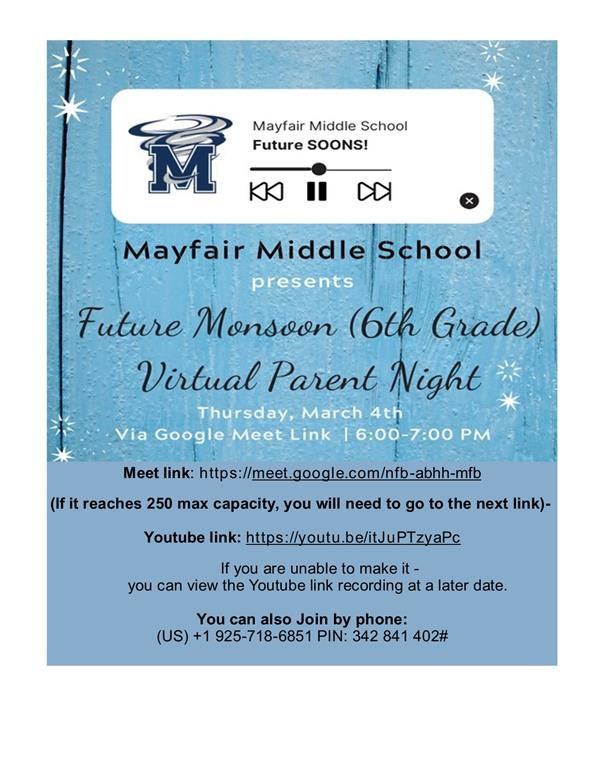 RECAP: Future Monsoons (6th grade) Virtual Parent Night -March 4 @ 6pm