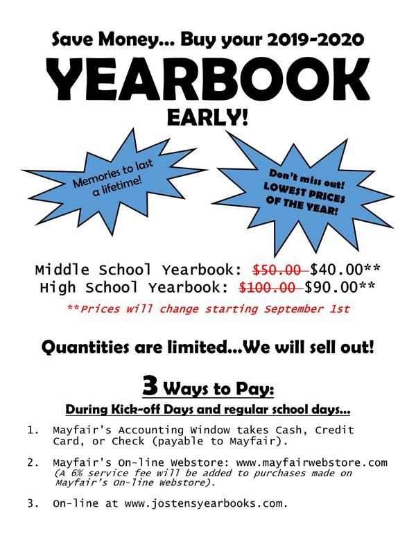 Buy your Yearbook Early and SAVE!!