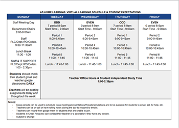 Virtual Learning Schedule