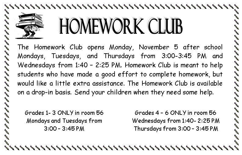 Homework Club flyer