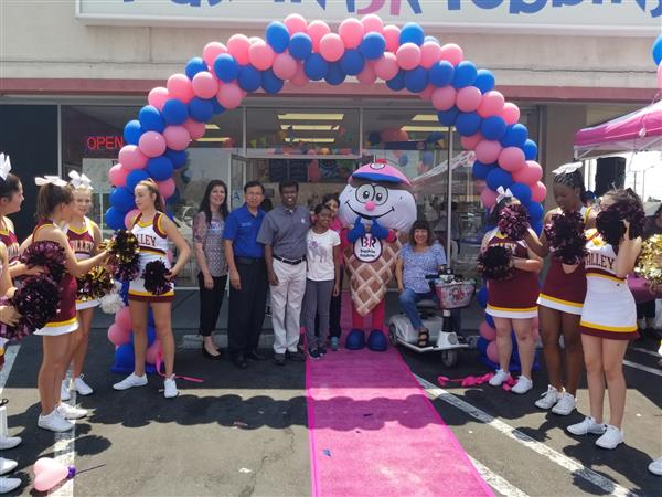 School Board members in front of the recently re-opened Baskin Robbins.