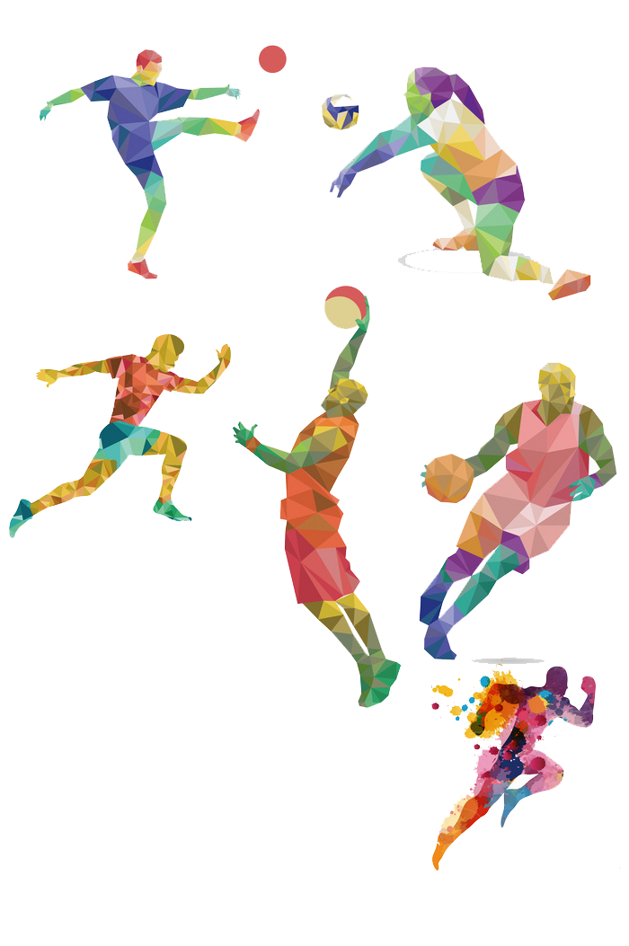 People performing in various athletic events.