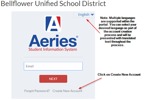 Aeries Login Screen