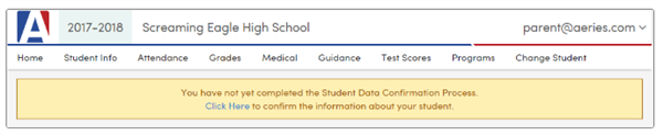Data Confirmation Notice in Parent Portal