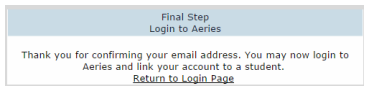 Parent Portal Email Confirmation Image