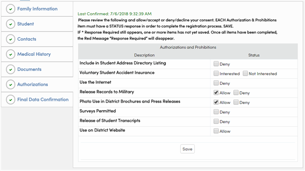 Data Confirmation Authorizations Section