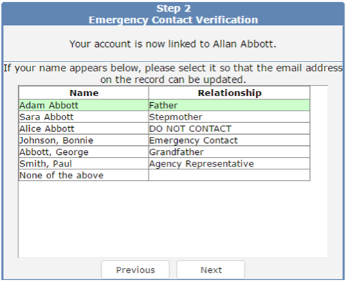 Emergency Contact Verification