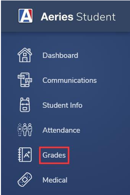 Image showing to select the Grades option.