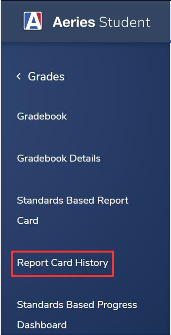 Image showing to select Report Card History option.