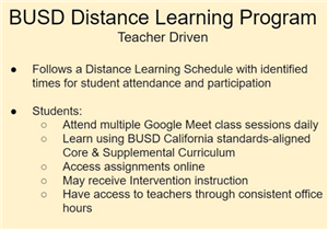 BUSD Distance Learning Program